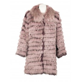 CHAQUETÓN 80004 RACCOON/RABBIT BURDEOS-ROSA